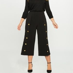 ELOQUII wide leg button culottes high rise pants